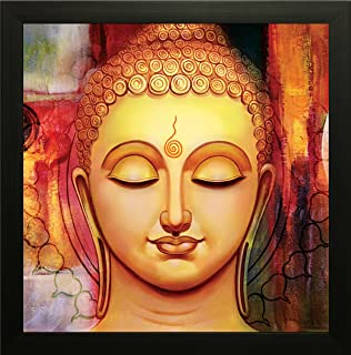 SAF Buddha Vastu UV Coated Home Decorative Gift Item Framed Painting 12 inch X 12 inch SANF1000012