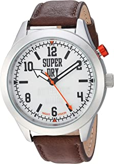 Superdry Men's 'Yokohama Night Vision' Quartz Silver-Tone and Leather Casual Watch, Color:Brown (Model: SYG187BR)