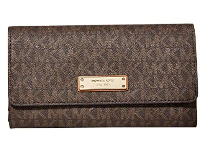 MICHAEL Michael Kors Jet Set Large Trifold Wallet (Brown) Bi-fold Wallet