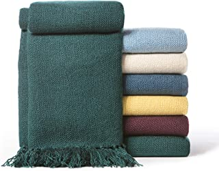 Chanasya Silky Textured Solid Decorative Throw Blanket with Tassels - Elegant Classy Chick Woven Kntted for Sofa Couch Bed Room Fringed Throw Blanket Gift for Wedding Birthday (50x65 Inches) Teal