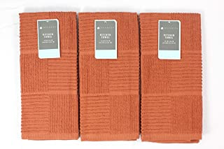 Kitchen Towels: 100% Cotton Soft Absorbent Terry Cloth, Set of 3 (Rust/Squares)