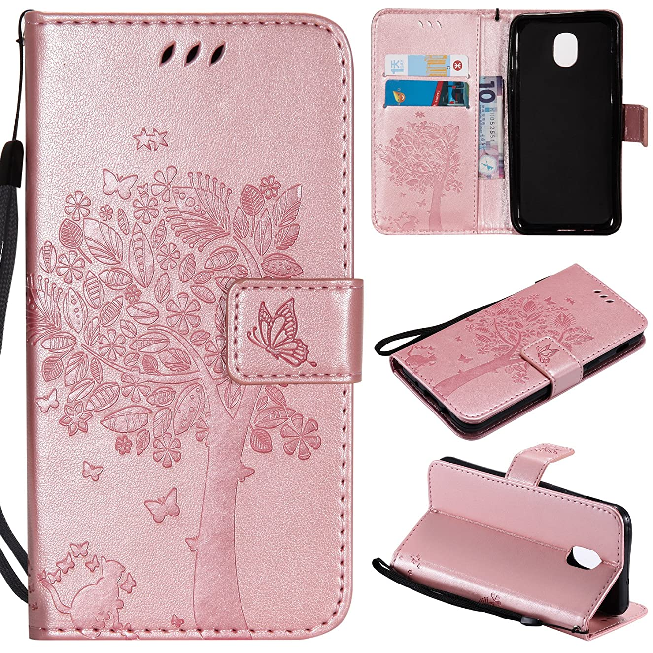HAOTP Galaxy J7 2018 Case, for Samsung Galaxy J7 Aero/J7 Star/J7 Top/J7 Crown/J7 Aura/J7 Refine/J7 Eon Case,Tree Cat Embossed PU Leather Flip Cover TPU Inner Bumper Card Holders Wallet Case Rose Gold