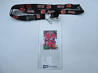 CALGARY FLAMES OFFICIAL LANYARD KEYCHAIN WITH TICKET HOLDER PLUS COLLECTIBLE PLAYER CARD