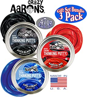 Crazy Aaron's Thinking Putty Chrome Colors Mini Tins (.47oz Each) Cool Cobalt, Radical Red & Pitch Black Gift Set Bundle - 3 Pack