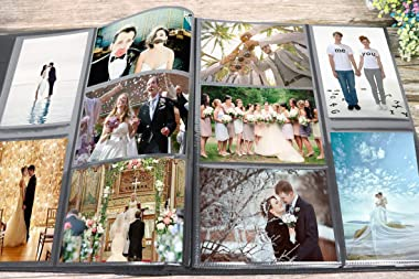 RECUTMS Photo Album 4x6 600 Photos Black Pages Large Capacity Leather Cover Wedding Family Photo Albums Holds 600 Horizontal