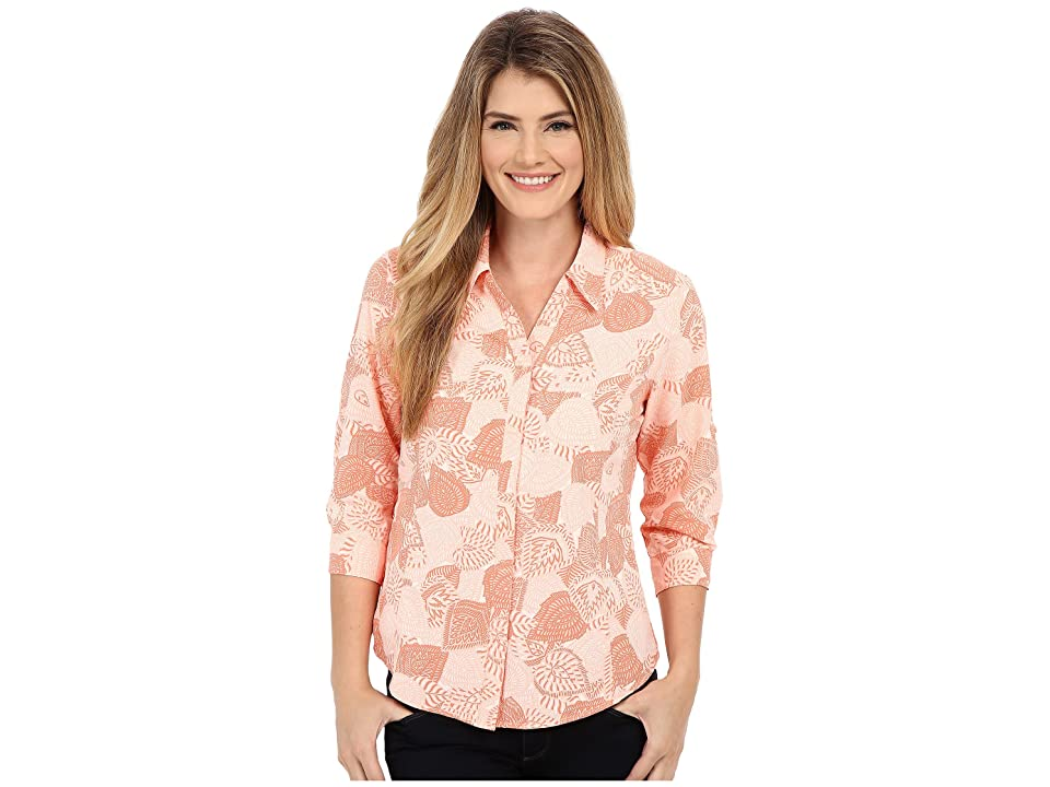 Royal Robbins Expedition Stretch 3/4 Sleeve Print Top (Light Cantaloupe) Women