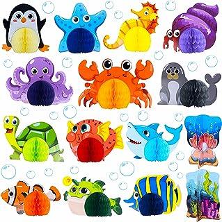 15 Pieces Sea Animal Honeycomb Centerpiece, Ocean Themed Marine Creature Decoration Table Honeycomb Party Supplies for Par...