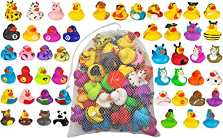 Kicko Assorted Rubber Ducks with Mesh Bag - 50 Ducklings, 2 Inch - for Kids, Sensory Play, Stress Relief, Novelty, Stockin...