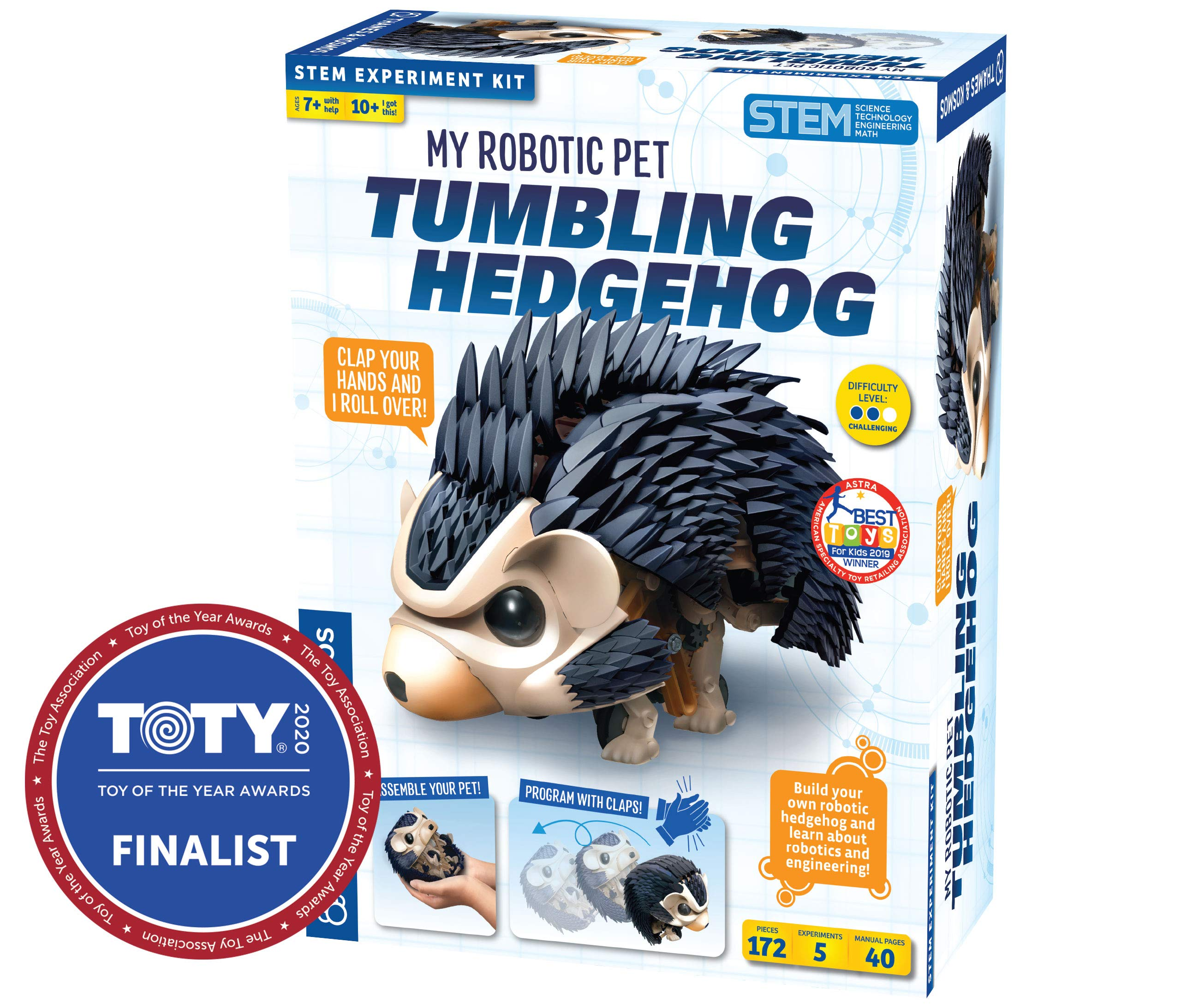 Amazon Com Thames Kosmos My Robotic Pet Tumbling Hedgehog Build Your Own Sound Activated Tumbling Rolling Scurrying Pet Hedgehog Stem Experiment Kit Toy Of The Year Award Finalist