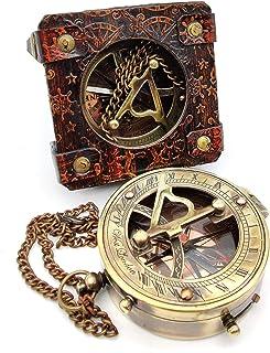 5MOONSUN5's Antique Brass Sundial Compass Marine Boat Gift Pocket Sun Dial in Leather Display Box Nautical Marine Gift Sun...