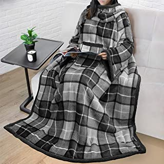 PAVILIA Sherpa Fleece Wearable Blanket with Sleeves for Adult Women Men   Blanket with Arms Pocket Throw for Couch Sofa Ho...
