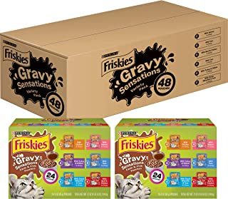 Purina Friskies Gravy Wet Cat Food Variety Pack, Gravy Sensations Farm & Fish Pouches - (2 Packs of 24) 3 oz. Pouches