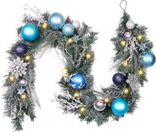 Valery Madelyn Pre-Lit 6 Feet Winter Wishes Blue Silver Christmas Garland with Artificial Greenery Frosted Spruce, Christmas Ball Ornaments and Snowflake, Battery Operated 20 LED Lights