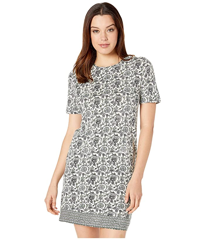 Lucky Brand  Woodblock Print T-Shirt Dress (Green Multi) Womens Dress