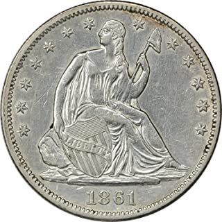 1861 Liberty Seated Half Dollar, AU, Uncertified
