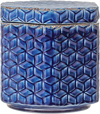 Creative Co-Op Debossed Decorative Stoneware Lid & Pattern, Distressed Crackle Glaze, Blue Jar