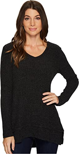 Mod-o-doc - Poorboy Rib Sweater Double Layer Hem Long Sleeve Sweater
