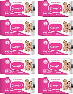 Jennifer's Jennifer's Baby Wipes 80s Pack of 10-800 Wipes, Pack of 10