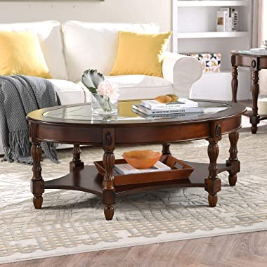 DS-HOMEPORT Traditional Solid Wood Oval Coffee Table with Tempered Glass Top,46 Inch Cocktail Table with Storage Shelf,Elegan