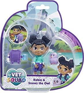 Vet Squad Vet Pet Assortment-Robin & Snowy The Owl, 3 Inch Articulated Vet Figure with pet and Accessories