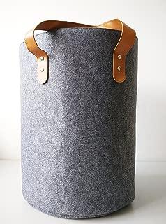 Danha Extra Large Collapsible Felt Laundry Basket - Home Storage Baskets with PU Handle for organizing Baby Kids Toys, Clothing   Grey Nursery Decor