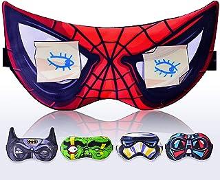 Kid Sleeping Mask Spiderman for Children Boy Kids - Sleep mask 100% Soft Cotton - Comfortable Eye Sleeping Mask Night Cover Blindfoldfor Travel Airplane (Spiderman Red, Plastic Pack)