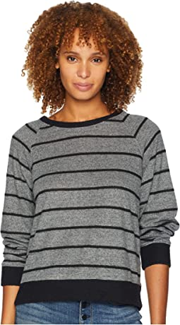 Brush Stripe Raglan Sleeve Top with Black Contrast