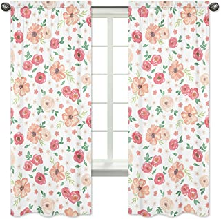 Sweet Jojo Designs Peach and Green Window Treatment Panels Curtains for Watercolor Floral Collection - Set of 2 - Pink Rose Flower