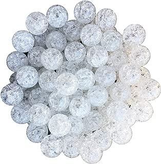 20mm Crackle Transparent Effect 25 Count Chunky Bubble Gum Acrylic Beads Bulk Wholesale Pack Necklace Kit (White)