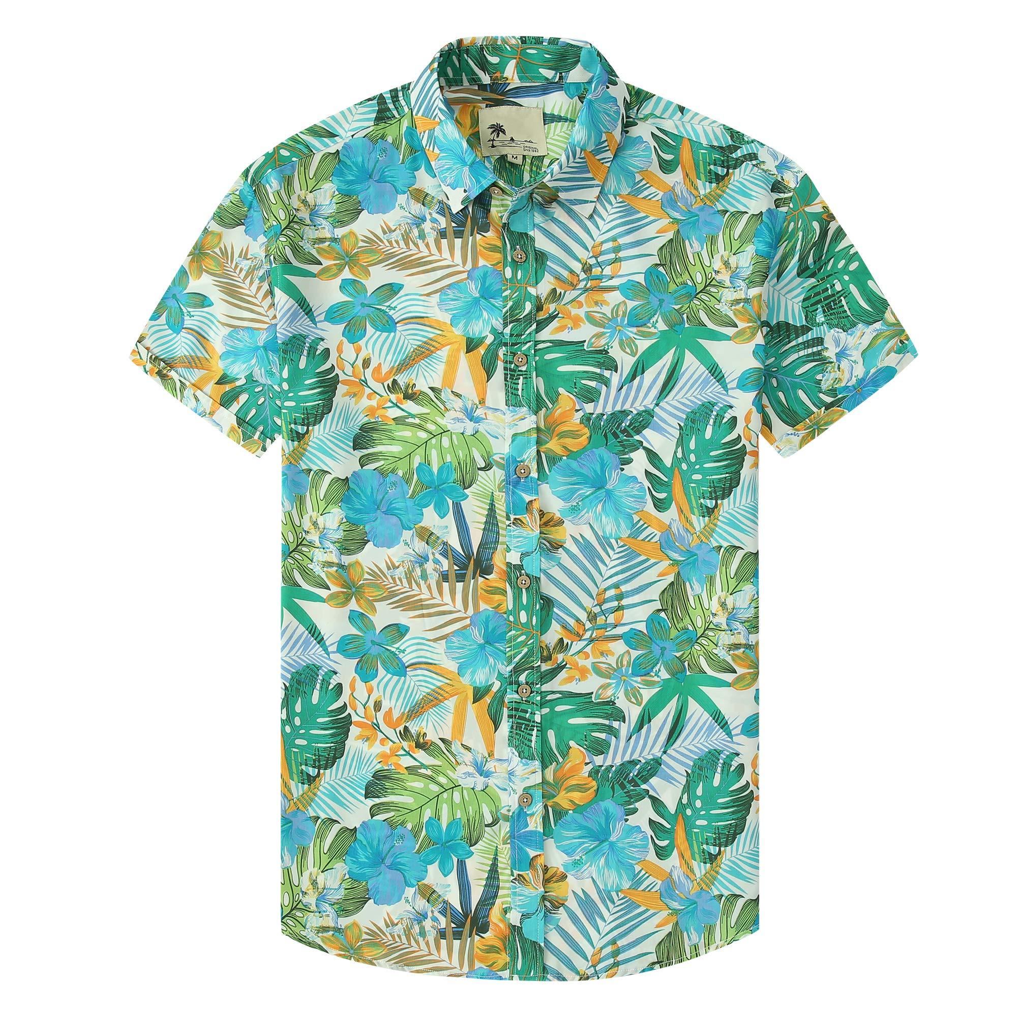 Hawaiian Shirts for Men Short Sleeve Aloha Beach Shirt Floral Summer Casual Button Down Shirts