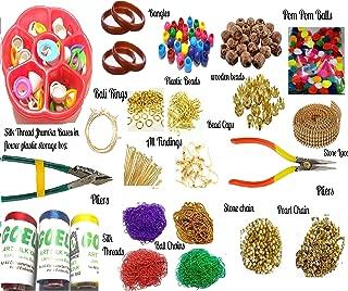 Goelx Silk Thread Jewelery Making Jumbo Kit,Full Materials, Beads Kit with Bangles,Decorative Chains,Jumka Base Flower Box,Tools,Colorful Pom Pom, Plastic, Wooden Beads, (22 Items)
