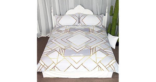 KGTAZ03105001 Twin Kingtex Modern Gold Geometric Duvet Cover Set 3 Pieces Silver Geometry Gold Square Bedding Set Simple Coverlet Set