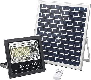 Foco Solar LED 80W, Luces Solares Jardín Luz Blanco-Neutro