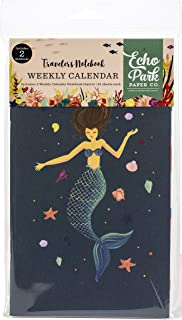 Echo Park Paper Company TNME1009 Mermaid Travelers Notebook Insert -Weekly Calendar Paper, Teal/Green/Blue/Aqua/Pink/Coral