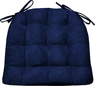 Barnett Products Dining Chair Pad with Ties - Microsuede Royal Blue Micro Fiber Ultra Suede - Size Extra-Large - Reversible, Latex Foam Filled Cushion, Machine Washable