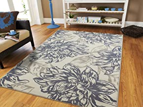 Century Home Goods Collection Luxury Floral Cream Gray Black Leaves 8 x 10 Area Rug Carpet Large Living Room Rug 8x11 Rugs for Living Room