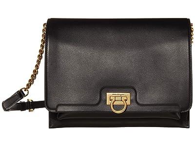 Salvatore Ferragamo Gancio Flap Shoulder Bag (Nero) Handbags