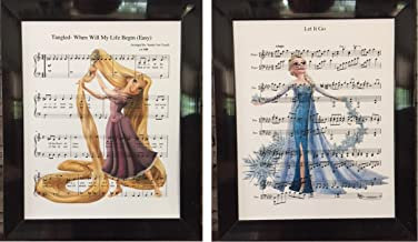 Tangled and Frozen Movie Set of 2 Music Sheet Prints Artwork Picture Poster Home Office Bedroom Nursery Kitchen Wall Home Decor - unframed