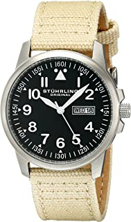 Stuhrling Original Men's 850.02 Analog Quartz Beige Canvas & Leather Watch