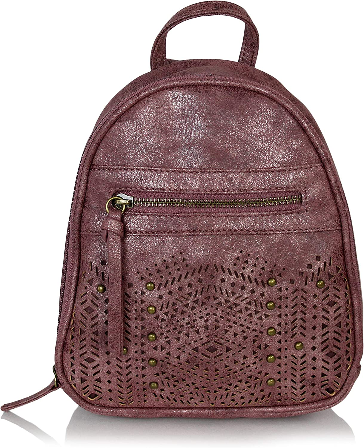 Bohemian Laser Cut Out Vegan Suede Daypack Bag Mini Cute Hipster Perforated Design Women's Travel Backpack or School Bag (Shimmer Metallic Dusty Mauve Purple)