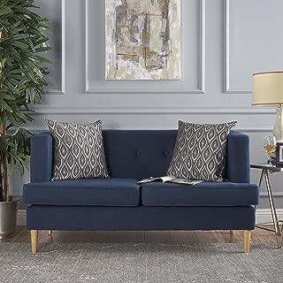 Christopher Knight Home 301400 Milton Mid Century Modern Loveseat Sofa, Navy Blue + Natural