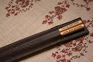 Personalized Engraved Chopsticks and Imprinted Leather Holder