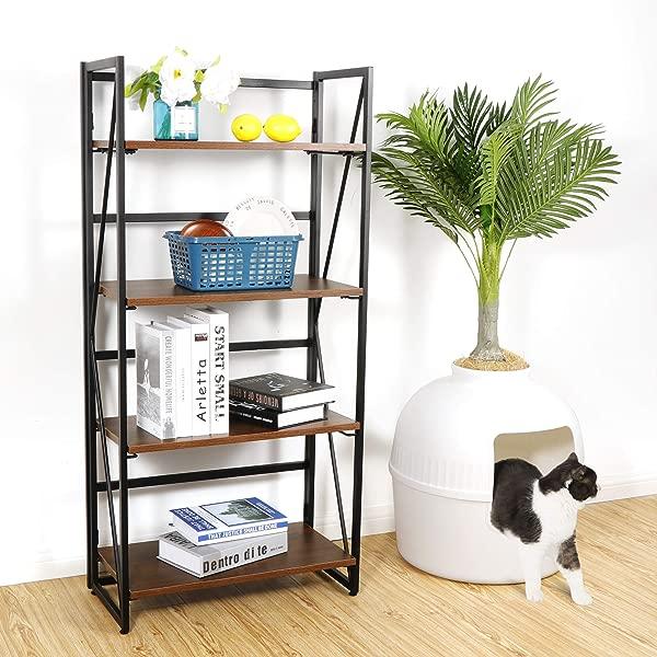 ZENSTYLE 4 Tiers No Assembly Bookshelf Folding Book Case Home Office Storage Ladder Shelf Industrial Standing Bookcase Organizer Book Shelf Rack