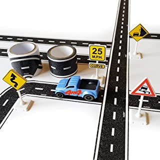 PlayTape TinyTown Cars, Roads & Curves: Includes Tuner Car, Tape Road, & Toy Road Signs & Accessories. Build Your Own Tiny Town! Easy to Use, Safe for Home, Quick CleanUp; PlayTape Road Tape