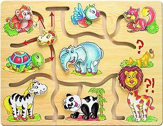 Bino & Mertens 88096 motorikspel Africa, leksak för barn från 3 år, barnleksaker (träleksaker med olika djurmotiv, glidand...