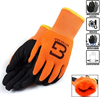 Better Grip BGWANS Safety Winter Insulated Double Lining Rubber Coated Work Gloves, 3 Pairs/Pack (Medium, Hi-Vis Orange)