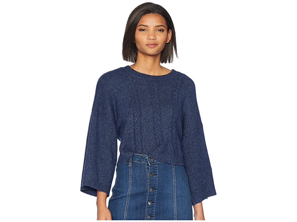 Jack by BB Dakota Extra Whip Cable Knit Mock Neck Sweater (Dark Blue) Women