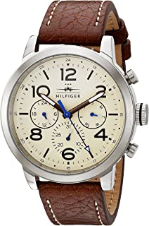 Tommy Hilfiger Men's Jake Stainless Steel Japanese-Quartz Watch with Patent Leather Strap, Brown, 20 (Model: 1791230)