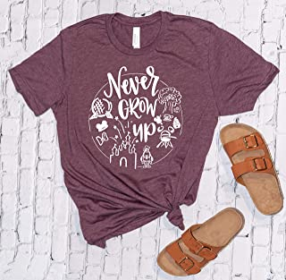 Never Grow up, Disney Shirts for Women, Minnie Mouse, Disneyland Trip Birthday Outfits, Cute T-Shirts, Unisex