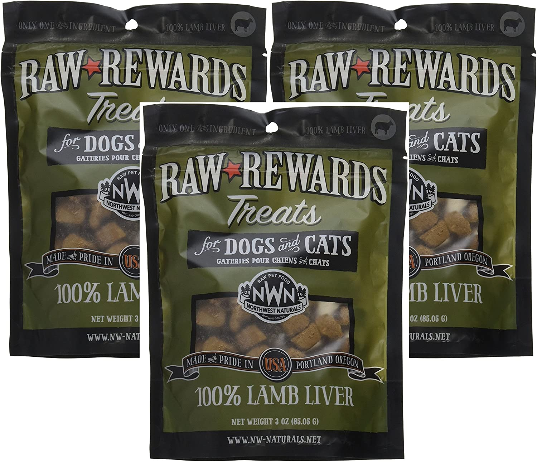 (3 Pack) Northwest Naturals Raw Rewards Freeze Dried Liver Treats, Lamb, 3 Ounces Each